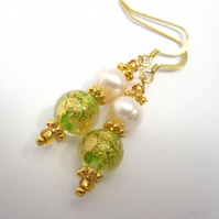 Venetian Green Glass Quality Pearl, Spring Green Crystal, Gold Vermail Earrings
