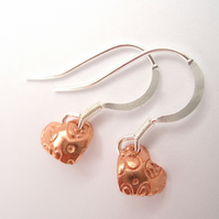 Little Hearts Sterling Silver and Copper Earrings  - Drop Earrings,