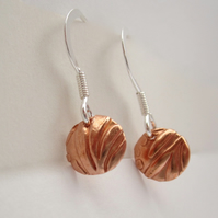 Little Copper & Sterling Silver and Earrings  - Drop Earrings, disc, round