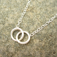 Sisters Silver necklace Pure design - Two Circle necklace - Round, Sisters, ring