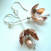 Copper & Silver Flower Drop earrings - (made by artist maker) Fushia Design.