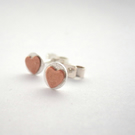 Heart earrings Small Silver Studs  Copper Heart sterling copper silver tiny