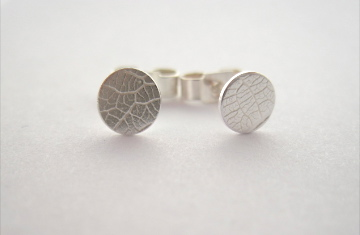 Silver Stud Earrings  - small dainty, round, pure leaf imprint