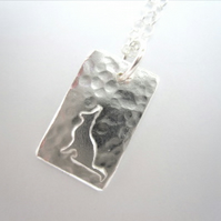 Teeny Tiny Little Cat Silver Necklace Pendant - hand sawn by artist maker