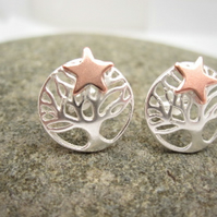 Morning Star Silver Tree of Life Earrings, Stud, Posts, Stars, Trees, Copper