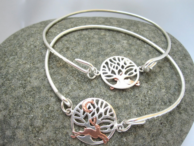Running Copper Hare Silver Tree of Life Bangle, Bracelet, Tree of Life Cuff