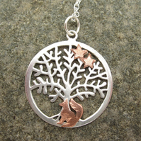 Silver Tree of Life Pendant with Copper Fox, Silver Necklace, Fox, Stars.
