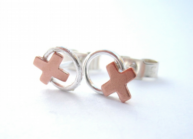 Copper Kiss, Silver Hug Earrings. Studs, Silver Posts with Copper. OXOX