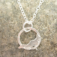 Tiny Little Fox Silver necklace Folk fox Pendant handmade for Silverhares