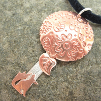 Fox & Tree Pendant with Copper, & Sterling Silver Necklace, Fox, Flowers.