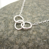 Three Sisters Silver Necklace Pure Design Circles - Round, Sisters, Rings Triple