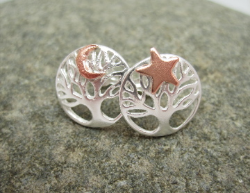 Star Moon Earrings Silver Tree of Life Earrings, Studs Stars, Moon, Copper,
