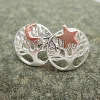 Star and Moon Silver Tree of Life Earrings, Stud, Posts, Stars, Moon, Copper,