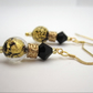 Venetian Murano Glass Earrings Dark Black Spheres Gold plated Silver hooks