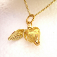 A Tiny Sweet Heart Gold plated Silver Venetian Pendant Golden, Murano, Leaf.