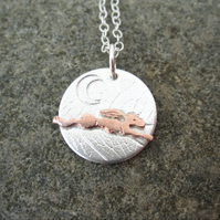 A'Magical' Running Copper Hare and Moon Silver Pendant   Necklace, Gift, Freedom