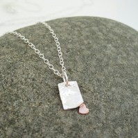 A Love Letter Pendant Copper Heart & Silver Necklace, Gift, Love, Sweet heart
