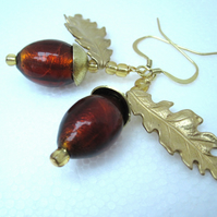 Acorn & Oak Earrings Autumn Venetian Murano Glass Oak & Acorn Earrings
