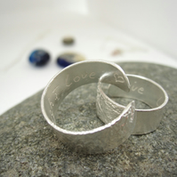 Silver Open Adjustable Ring  - Live, Laugh, Love.   Reticulated Sterling Silver