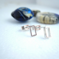 Rectangle Silver Stud Earrings  - Pure design - Sterling Silver Geometric Square