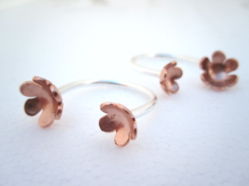 Silver Copper Flower Adjustable Open Ring - (made by artist maker) open ring