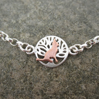 A Teeny Tiny Cat Bracelet Copper & Silver Necklace, Gift,