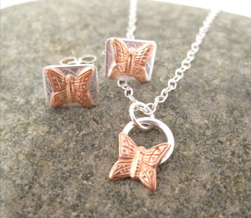 A Butterfly Necklace and Earring Jewellery Set Copper & Silver Pendant
