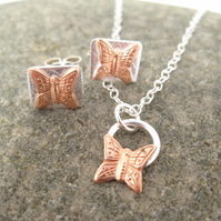 Butterfly Necklace and Earring Jewellery Set Copper & Silver Pendant