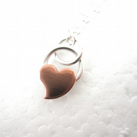 Teeny Copper Heart and Sterling Silver Pendant.  Tiny Sweetheart