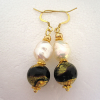Black White Earrings Venetian Murano Glass Pearl Gold plated  Silver Earrings
