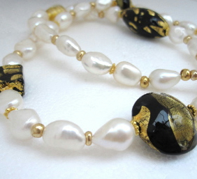 Black White Venetian Murano Glass Gold plated Sterling Necklace, gold, pearl.