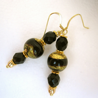 Venetian Murano Glass Gold plated Sterling Silver Earrings, Black, gold, pearl.