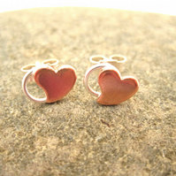 Sweetheart Earrings .Love & A Hug Little Sweetheart Silver copper stud earrings.