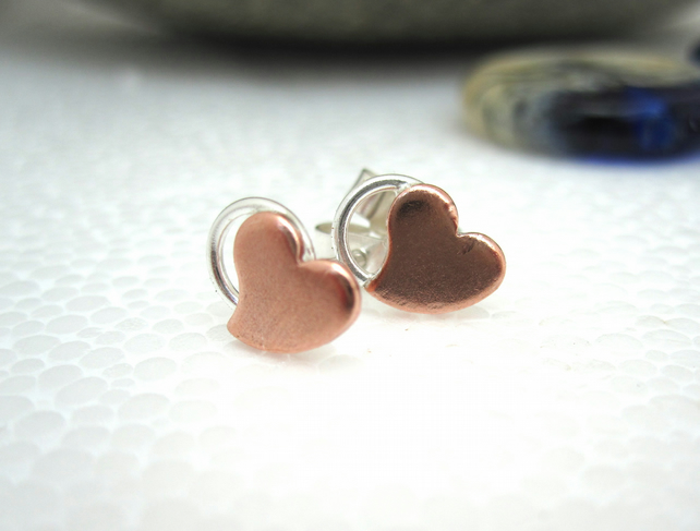 Love & a Hug - Little Sweetheart Silver copper stud earrings - handmade, British