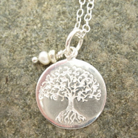 Silver Tree of Life Pendant with Tiny Genuine Pearl Detail.