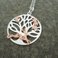 Running Copper Hare Silver Tree of Life Necklace, Pendant, Tree of Life Hare