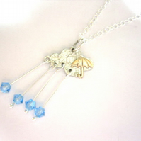 A British Weather Rain Drop Crystal Silver Necklace, Cloud Pendant, Storm Cloud