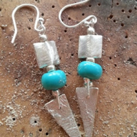 Turquoise Blue Long Sterling Silver Earrings, Reticulated geometric, Bridal