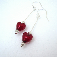 Red Heart earrings Venetian murano glass & Silver Earrings Red.  Drop