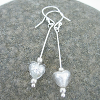 Venetian murano glass &  Silver Earrings Silver White.  Drop Dangle