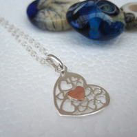 Heart of My Heart Necklace Silver Copper Many Hearts. Pendant