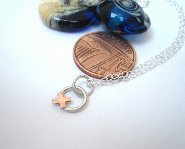 Copper Kiss, Silver Hug Necklace. XOXO, Silver Necklace A Kiss & A Hug