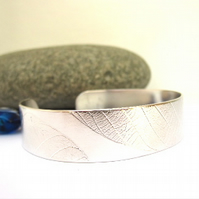 Out of stock Leaf Print Sterling Silver Cuff Bangle Sterling Silver Metalsmith