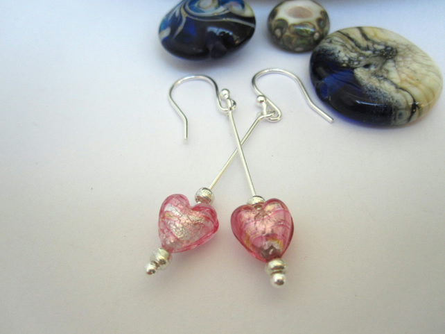 Venetian murano glass &  Silver Earrings Silver Pink.  Drop Dangle