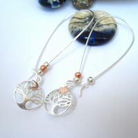 Star and Moon Silver Tree of Life Earrings, Long Drop, Stars, Moon, Copper,