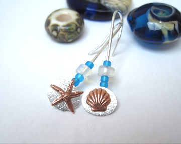 Starfish And Sea Shell Earrings silver with Blue sea Glass Beads