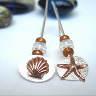 Mismatched Silver Starfish And Sea Shell Earrings with Brown Glass Beads