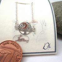 Silver tree of life with copper moon necklace, Tree and Moon pendant