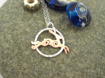 A'Magical' Running Copper Hare forged Silver Circle Pendant Necklace