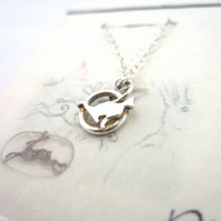 Tiny Little Cat Sterling Silver Pendant Right facing -hand sawn by artist maker